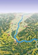 Blick nach Norden über den Rhein: CH unten, F links und D rechts