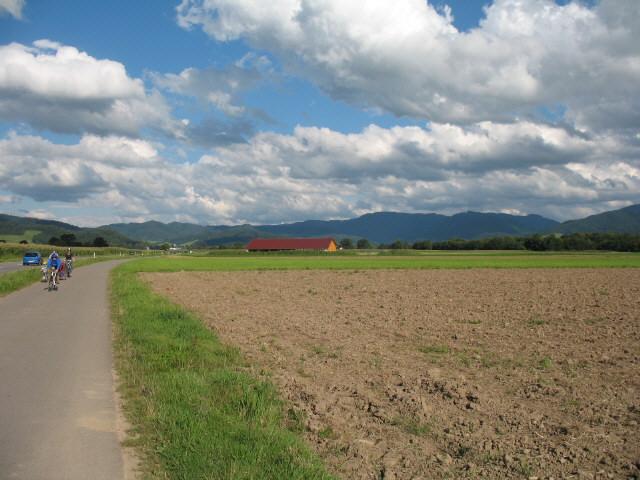 Blick nach Osten über den Radweg Ebnet-Stegen zum neuen Küferhof-Stall am 19.8.2007