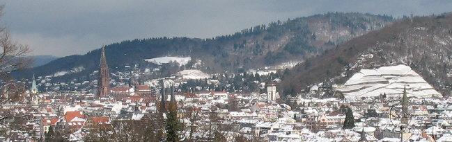 Freiburg im WInter: Blick vom Lorettoberg nach Norden zum Schloßberg (rechts), Freiburger Münster und Herdern (dahinter) am 1.3.2006