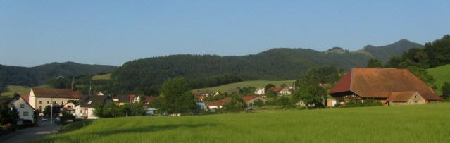 Blick nach Nordosten über Oberried und Rombachhof (rechts) hoch zum Häusleberg am 15.7.2013 abends