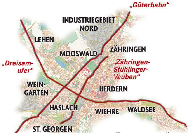 Drei Radschnellwege durch Freiburg - geplant 2012-2015 fuer 9 Mio