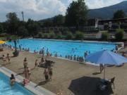 Strandbad Freiburg am 22.7.2012 - Blick nach Süden übers Schwimmerbecken