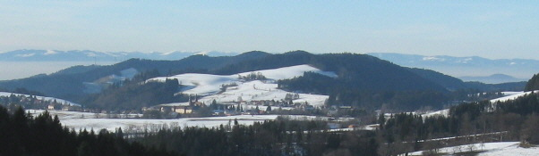 Blick nach Westen über St.Peter und Rheintal-Nebel zu den Vogesen im Januar 2008