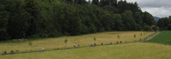 Ultra Bike am 19.6.2011 in Buchenbach-Himmelreich im Dreisamtal: Blick nach Westen zur Rainmühle