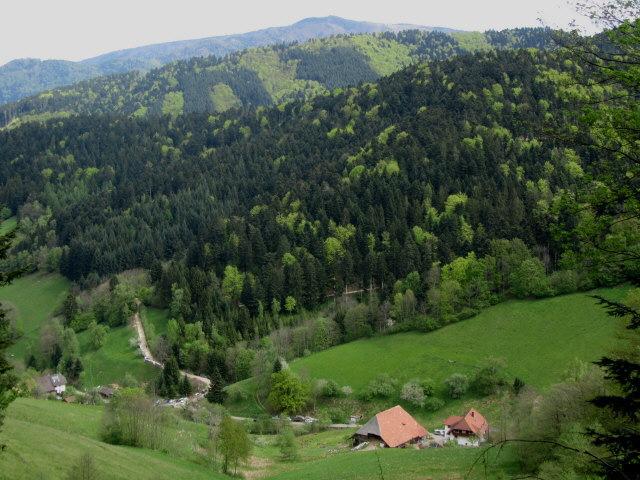 Blick nach Norden ins Foehrental zum Streckerhof am 1.5.2012 - oben der Kandel
