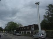 Strandbad Freiburg am 5.5.2012: Blick nach Westen - Schornstein