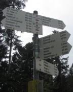 Streckereck am 1.5.2012: Blick nach Süden zum Wegweiser auf 727 m Höhe