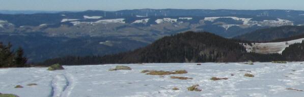Tele-Blick von Tote Mann nach Norden zu den Windrädern von St.Peter-Platte und St.Märgen (rechts) am 6.2.2011