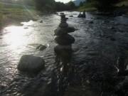 Dreisam bei Ebnet 19.8.2012 - Blick nach Westen in der Spätabendsonne