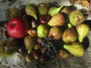 Obsternte im Garten am 4.10.2012: Feigen, Kastanien, Äpfel und Trauben