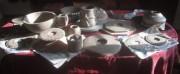 Keramik: Teile für einen Keramik-Turm vor dem Brennen am31.8.2017
