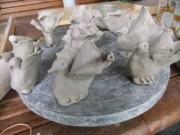 Keramik-Tauben am 30.8.2012 - noch vor dem Brennen