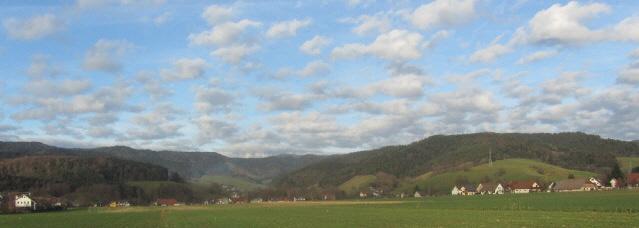 Blick über Stegen nach Norden ins Eschbachtal am 9.1.2014 bei 15 Grad plus