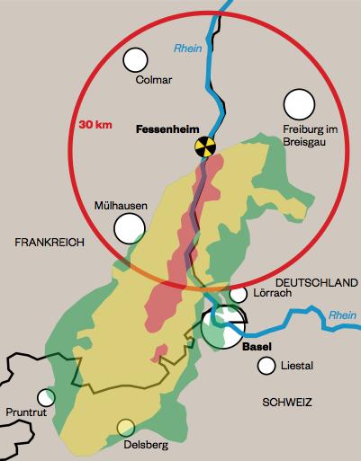 Fukushima-Wolke vom März 2011 übertragen auf die Gegend um Fessenheim - rot die am stärksten verseuchte, verbotene Zone (100 Millisievert pro Jahr:
