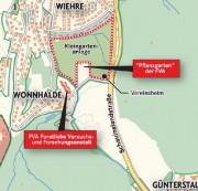 Schreibergärten der Wonnhalde zwischen Wiehre und Günterstal - Plan: Stadt Freiburg Vermessungsamt