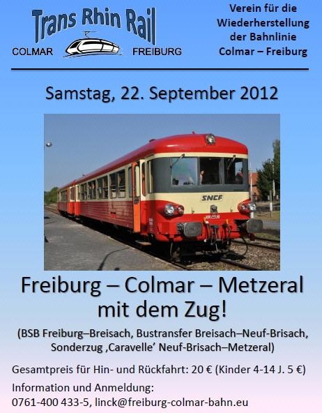 Bahnfahrt Freiburg - Breisach - Colmar am 22.9.2012