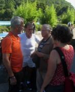 Strandbad 8.9.2011 (8) Alex heisler, Adolf Seger und Prof Jäger im Interview mit Petra Völzing von der BZ