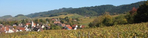 Markgräflerland: Tele-Blick nach Norden über Britzingen nach Muggarth (rechts) und Kastelberg (links) am 26.10.2006