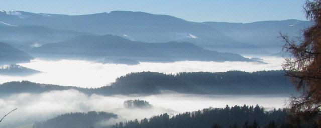Blick vom Lindenberg nach Süden übers Nebelmeer des Dreisamtals zum Feldberg (oben links) am 12.12.2013