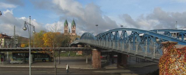 Blick nach Westen über die Blaue Brücke (Wiwili-Brücke) zu FR-Stühlinger am 6.11.2012