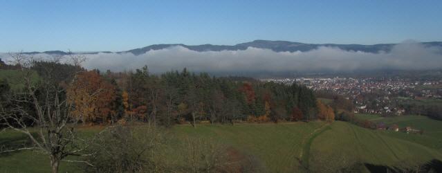 Blick von der Immi nach Norden über Dreisamtal und Kirchzarten zum Kandel am 16.11.2012