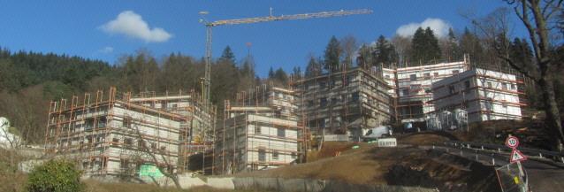 Blick nach Norden zu den neuen Personalhäusern an der Kartaus am 9.1.2014