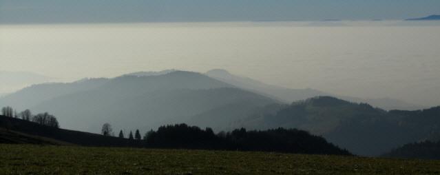 Blick vom Schauinsland nach Südwestem über den Sommerberg ob Münstertal ins neblige Rheintal am 15.11.2012
