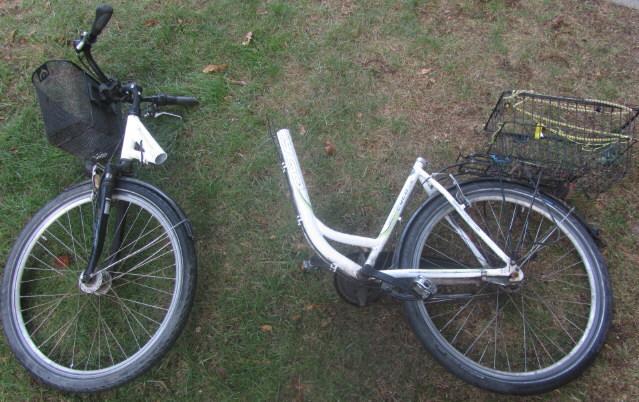 Fahrrad nach Rahmenbruch und Sturz am 12.9.2018