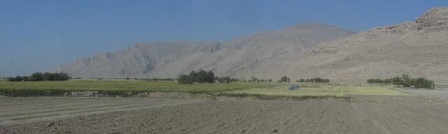 Oase in der trockenen Gebirgslandschaft zwischen Shiraz und Yazd am 13.10.2014
