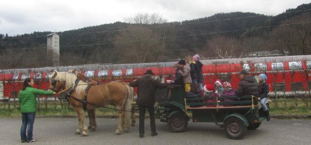 Pferdekutsche von Egon Linder aus FR-Kappel mit Kindergeburtstag am 22.2.2016