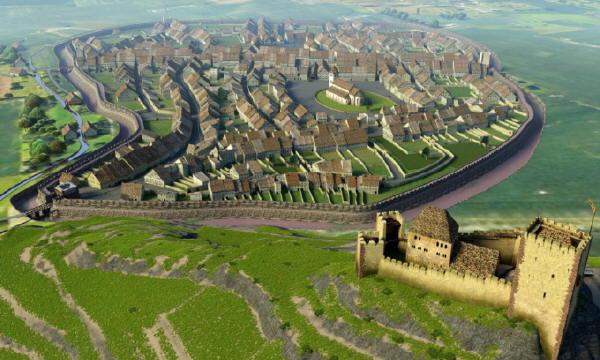 Freiburg um 1280: Burg auf dem Schloßberg. Kirche wurde später mit dem Münster überbaut. Bild: RP