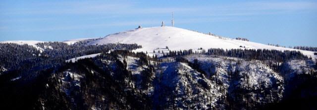 Blick nach Südosten zum Feldberg im Schwarzwald im Januar 2019