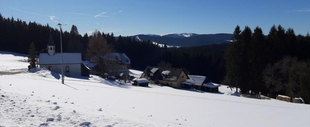 Blick über Heiligenbrunnen ob Hinterzarten nach Süden zum Feldberg am 22.2.2019