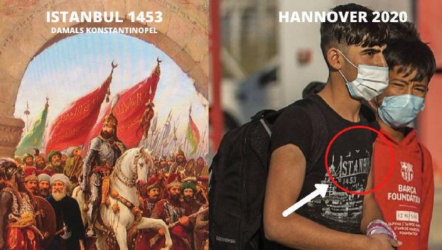 """Migranten aus Syrien und Afghanistan steigen mit T-Shirt """"Istanbul 1453"""" aus dem Flugzeug in Hannover 4/2020 - ein Affront gegen die Gastgeber"""