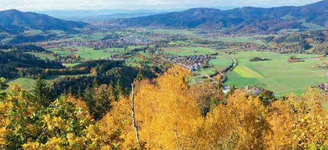 Blick vom Frauensteigfelsen nach Westen übers Dreisamtal bis Freiburg im November 2020