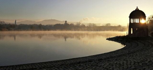 Herbstmorgen am Seepark in Freiburg November 2020